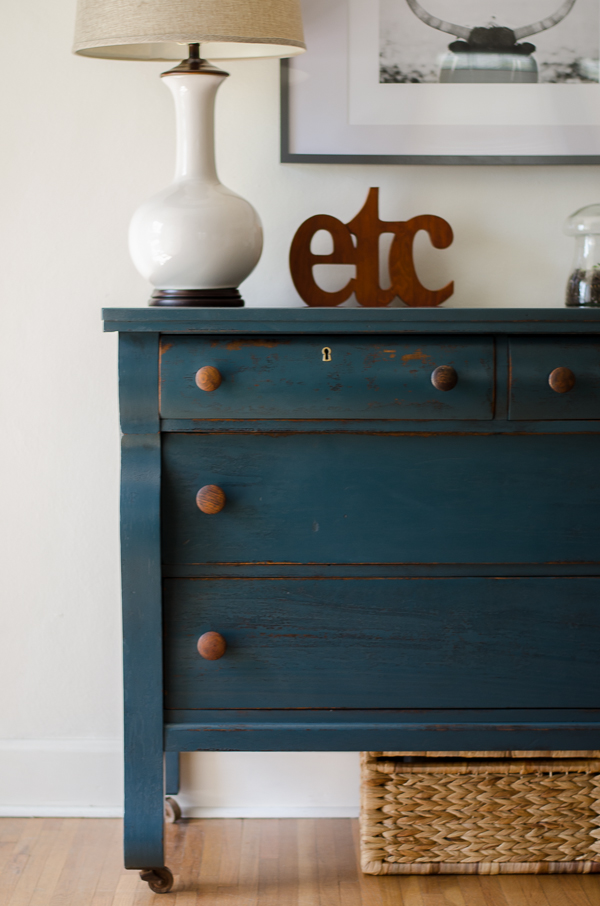 Empire Dresser Painted In A Deep Green Blue With Wood S